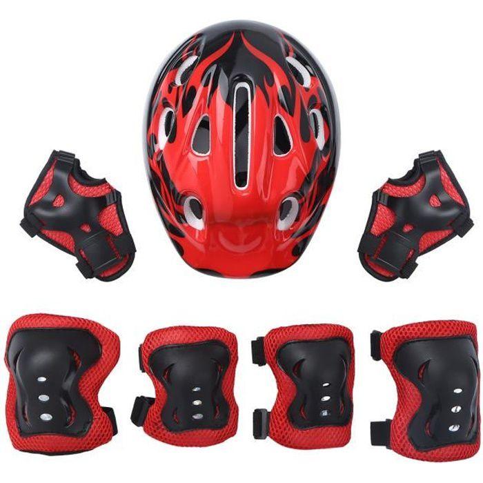 iixpin Lot de 7 Pièces Equipement de Protection Casque Vélo Enfant Protège-poignet Genouillère Coudière Rouge #1