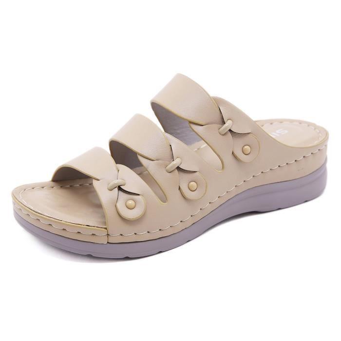 Sandales Femme Chaussures Nu-pied Mode Sandales Compensées Talons