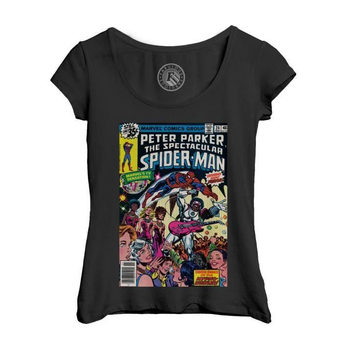 T-shirt Femme Col Echancré Noir The Spectacular Spiderman Bande Dessinee Comics Super Heros