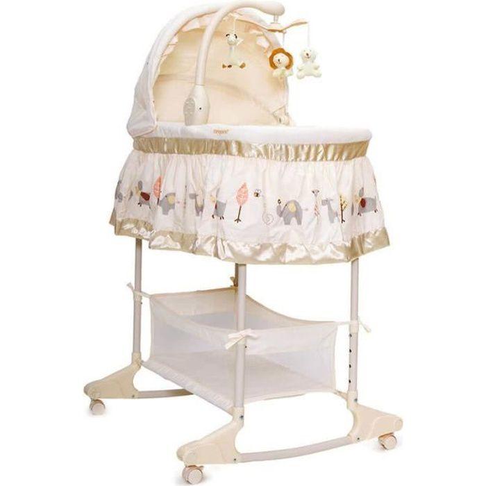 Moni berceau pour bébé lit de balcon Sieste fonction musique vibration veilleuse [beige]