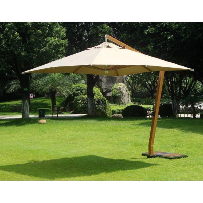 Parasol déporté carrée 3,5 x 3.5 m en bois et polyester 360 gr, coloris sable