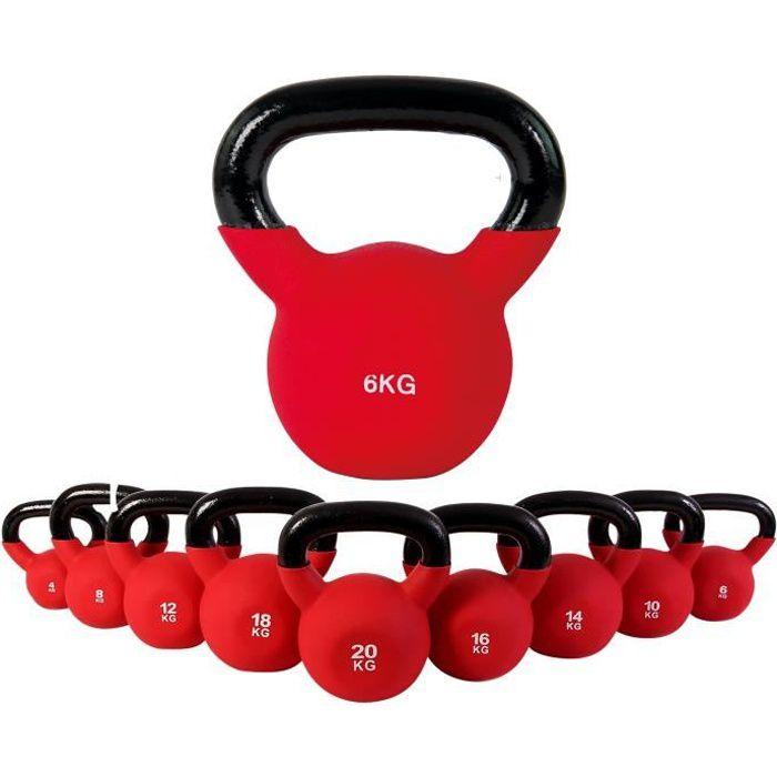 Kettlebell néoprène différents poids + affiche d´entrainement 4 kg à 30 kg (6 kg)