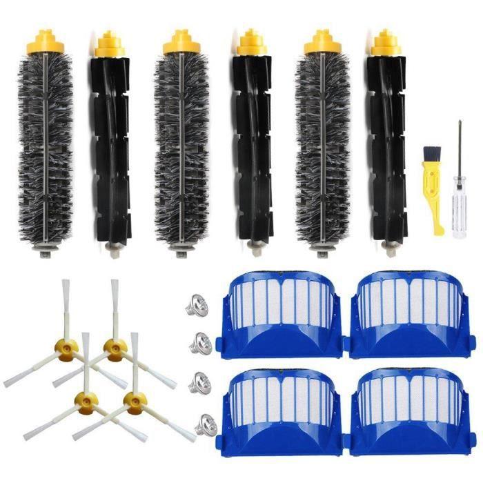 Filtre pour Irobot Roomba SéRie 600 Robots Aspirateurs Filtre Filtre pour Batteur Flexible Kit de Brosse LatéRale à 3 Branches