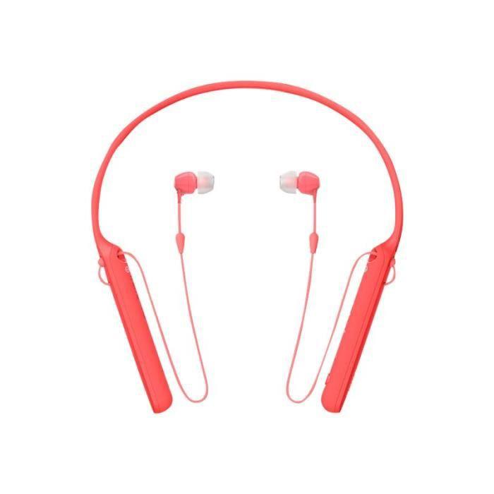 Sony WI-C400 Écouteurs avec micro intra-auriculaire montage derrière le cou sans fil Bluetooth NFC* rouge
