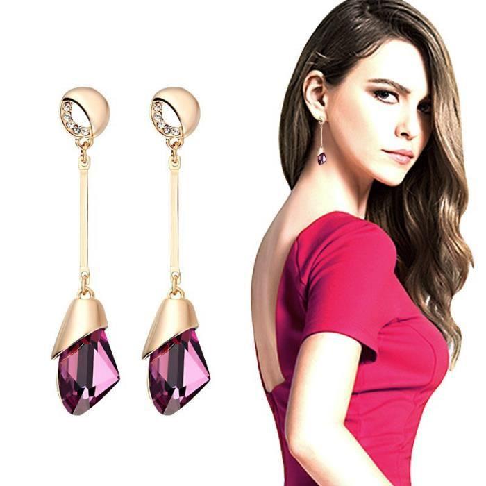 Cristal autrichien en attente Dangling Boucles d'oreilles longues pour femmes Boucles d'oreilles strass Bijoux fantaisie