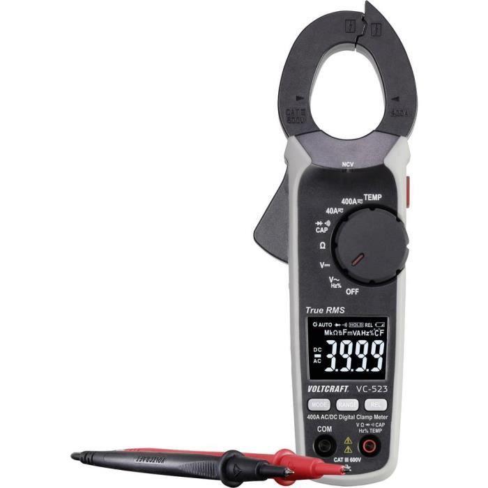 Pince ampèremétrique VOLTCRAFT VC-523 (ISO) numérique Etalonné selon: ISO CAT III 600 V Affichage (nombre de points): 4000