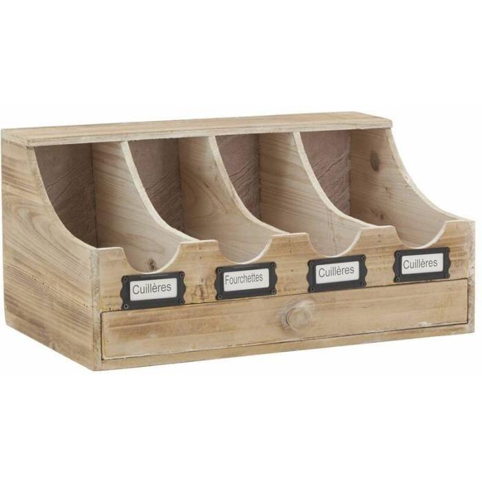 RANGE COUVERTS Range-couverts brasserie en bois vieilli 40x25x…