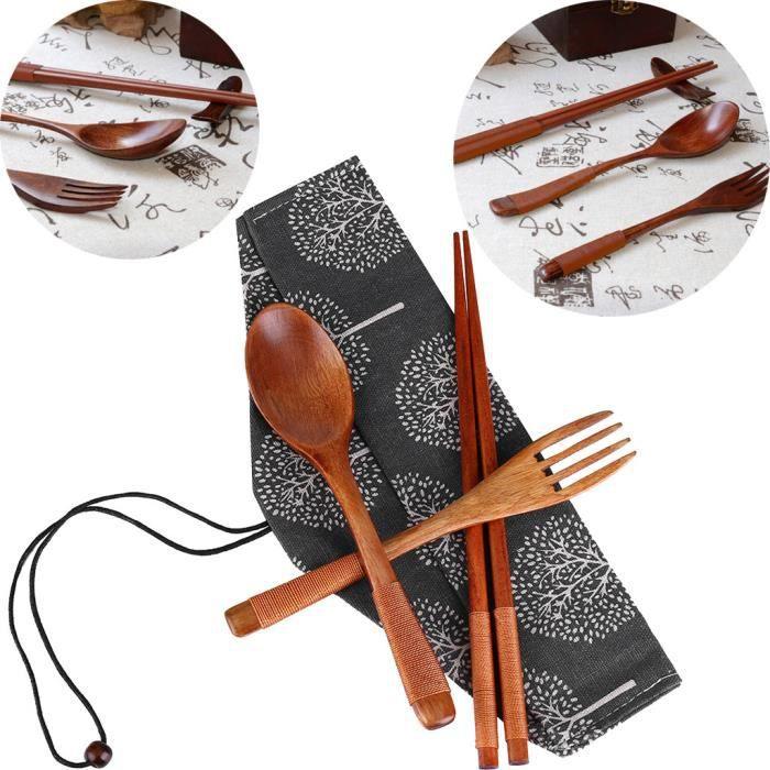 3Pcs chinois vintage en bois Baguettes Cuillère Fourchette cuillères à café de table sets