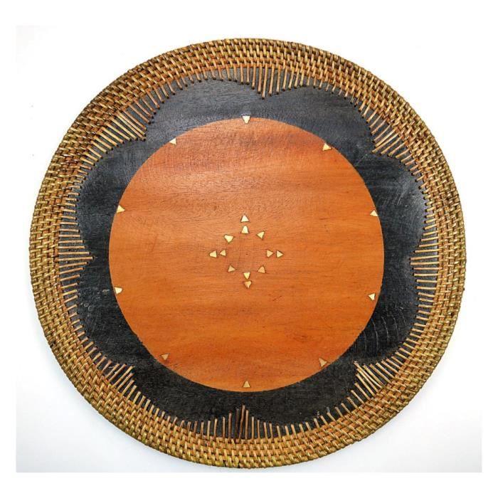 Set De Table Rond En Bois Et Rotin Decoration De Table Ethnique