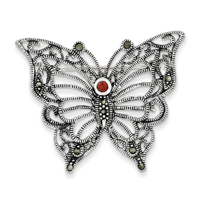 Argent Sterling Marcassite Zircone rouge Papillon-broches
