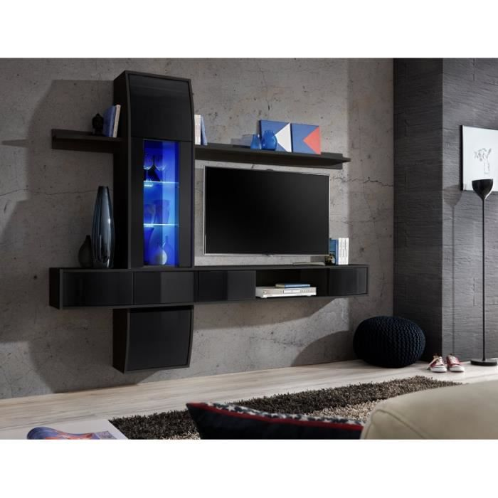 Meuble de salon meuble tv design suspendu commette corps blanc et noir mat - Meuble suspendu salon design ...