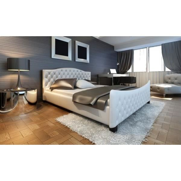 lit double sommier capitonn blanc achat vente. Black Bedroom Furniture Sets. Home Design Ideas
