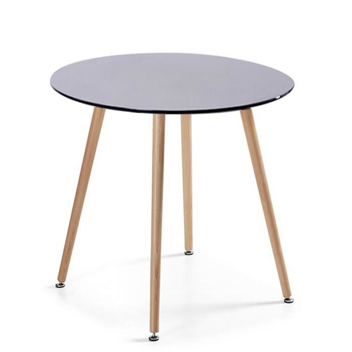 Table manger ronde design noire 80cm alta achat for Table a manger noir