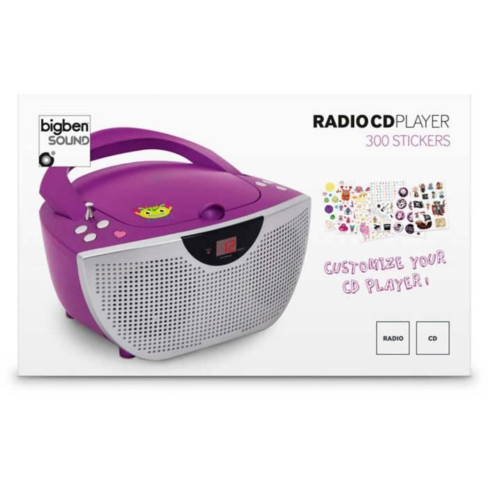 lecteur radio cd portable violet 300 stickers radio cd cassette avis et prix pas cher. Black Bedroom Furniture Sets. Home Design Ideas