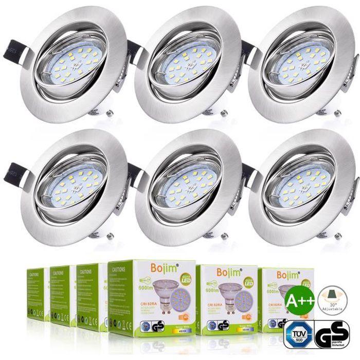 Spot LED Encastrables Orientable Bojim 6x 6W GU10 Lampe de Plafond Blanc Chaud Rond Plafonnier Encastr/é 2800K 600lm Equivalente de 54W Lampe 30/°Orientable 120/°d/'/éclairage 220V Non Dimmable
