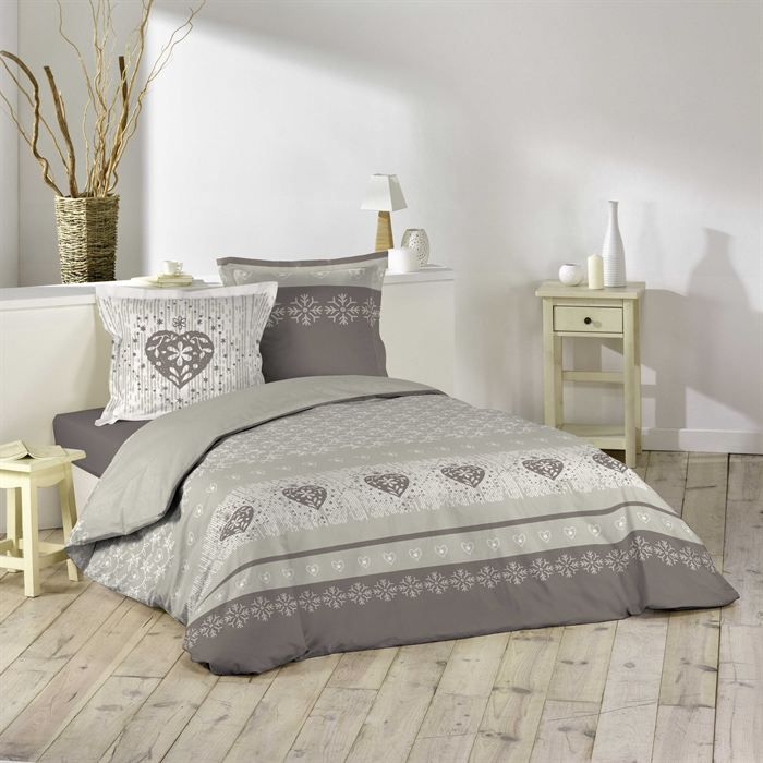 parure de lit 3 pi ces 240x220 courchevel taupe achat. Black Bedroom Furniture Sets. Home Design Ideas