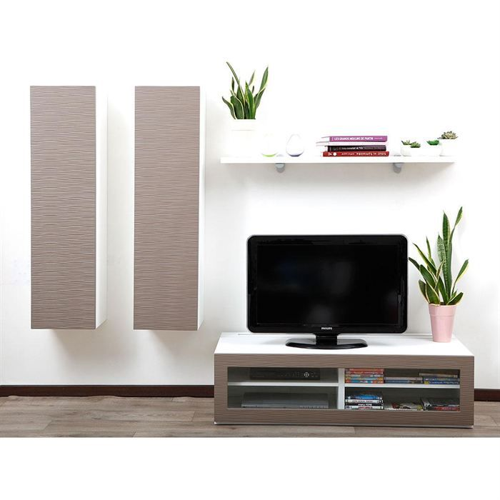 ensemble mural tv design blanc et taupe yris achat vente meuble tv ensemble mural tv. Black Bedroom Furniture Sets. Home Design Ideas
