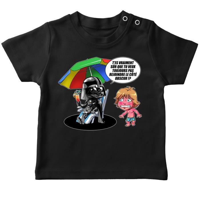 T-Shirt Noir Star Wars parodique Luke Skywalker Dark Vador et Le c/ôt/é obscur Le Pouvoir du c/ôt/é Obscur. Parodie Star Wars