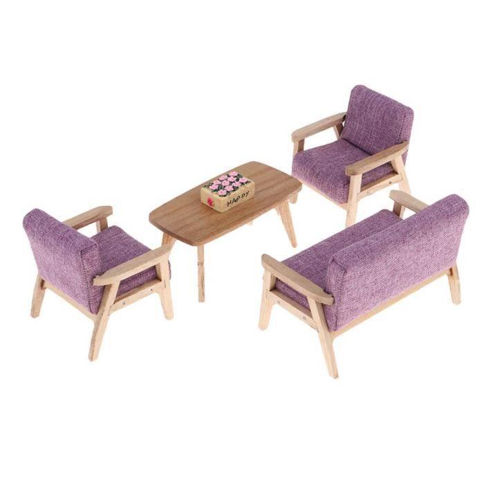 1:12 Miniature Mobilier Salon Canapé Chaise Table Mobilier de Poupée Jouet  Créatif pour Enfants