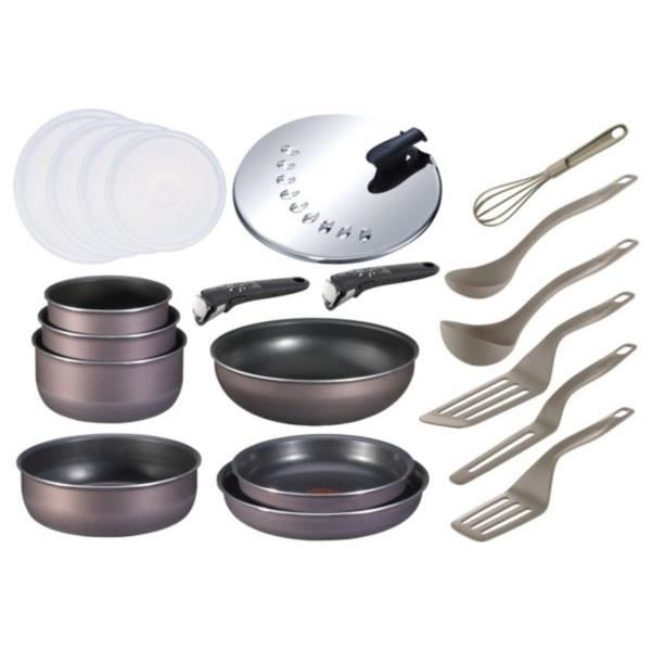 set tefal ingenio ptfe gris violine 20 pi ces achat vente casserole set tefal ingenio ptfe. Black Bedroom Furniture Sets. Home Design Ideas