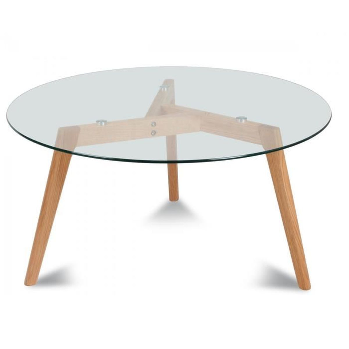 Table basse scandinave ronde 60cm plateau en verre et for Table basse scandinave laquee