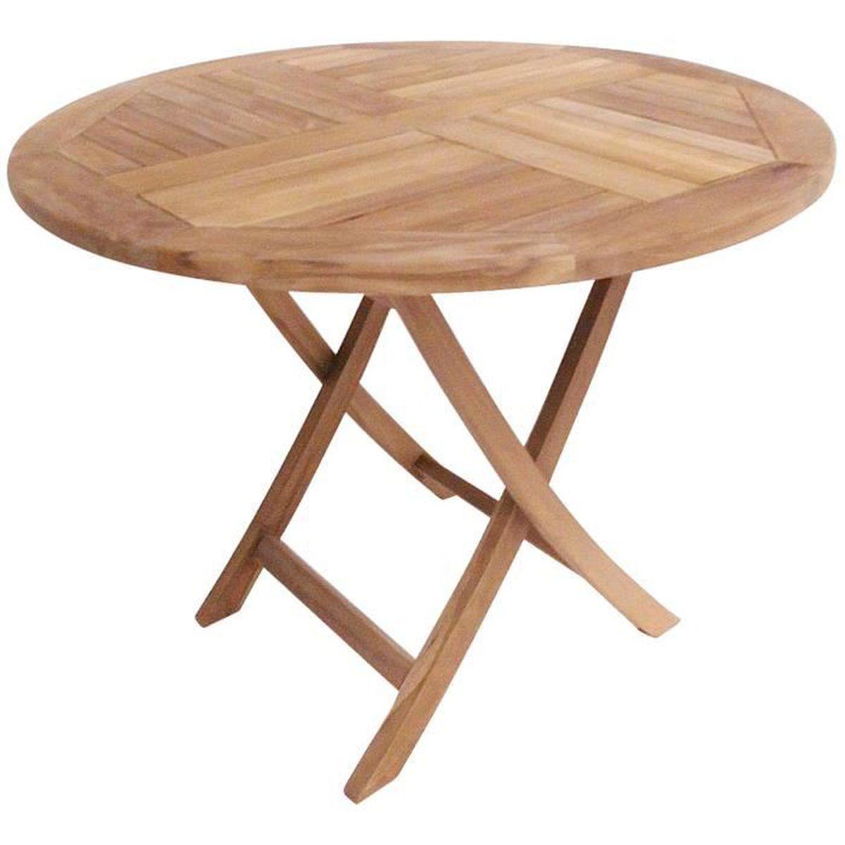 Table ronde de jardin pliable en teck massif - Achat / Vente ...