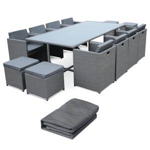 Ensemble table et chaise de jardin Salon de jardin 8-12 places – Vasto avec housse de