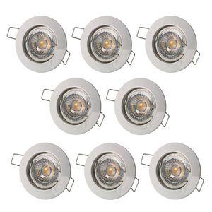 SPOTS - LIGNE DE SPOTS LOT DE 8 SPOT ENCASTRABLE FIXE LED 230V BLANC AVEC