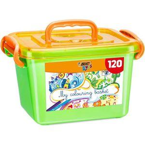 KIT DE DESSIN BIC Kids Boîte de Coloriage - 60 Crayons de Couleu