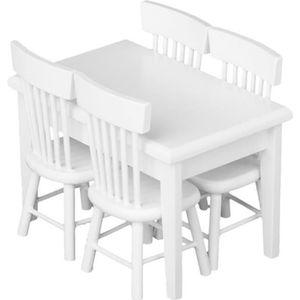MAISON POUPÉE Set de Meubles en bois Table Chaise Miniature pour