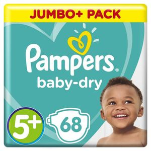 COUCHE Pampers Baby-Dry, Taille 5+, 12-17 kg,  68 Couches