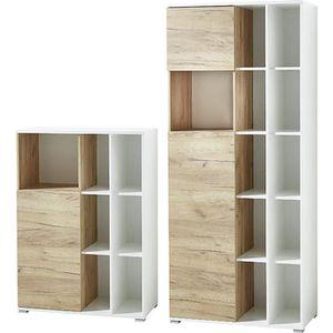 BUREAU  Ensemble de bureau avec 2 pièces coloris blanc-Nav