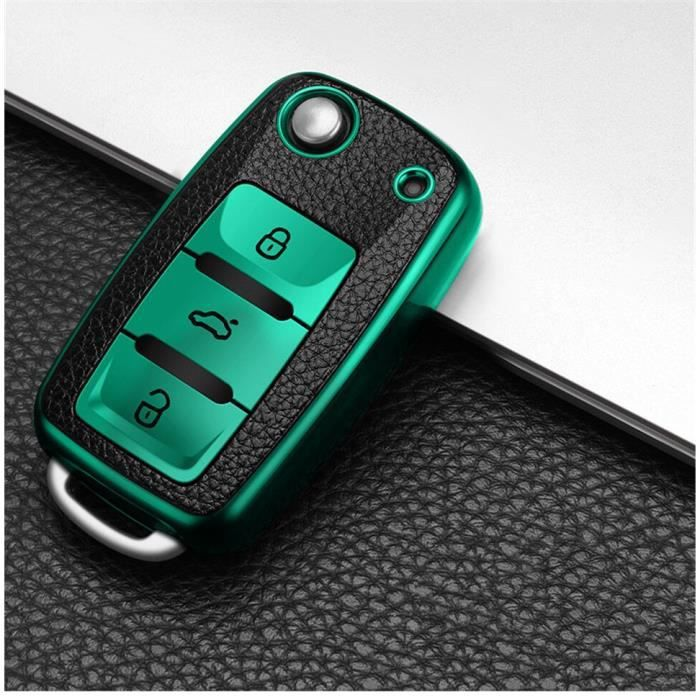 Étui à clés de voiture, pour volkswagen vw magotan polo golf 4 3 6 5 6 mk6 passat b5 b6 b8 b7 touran bora tiguan jetta [6721DA7]