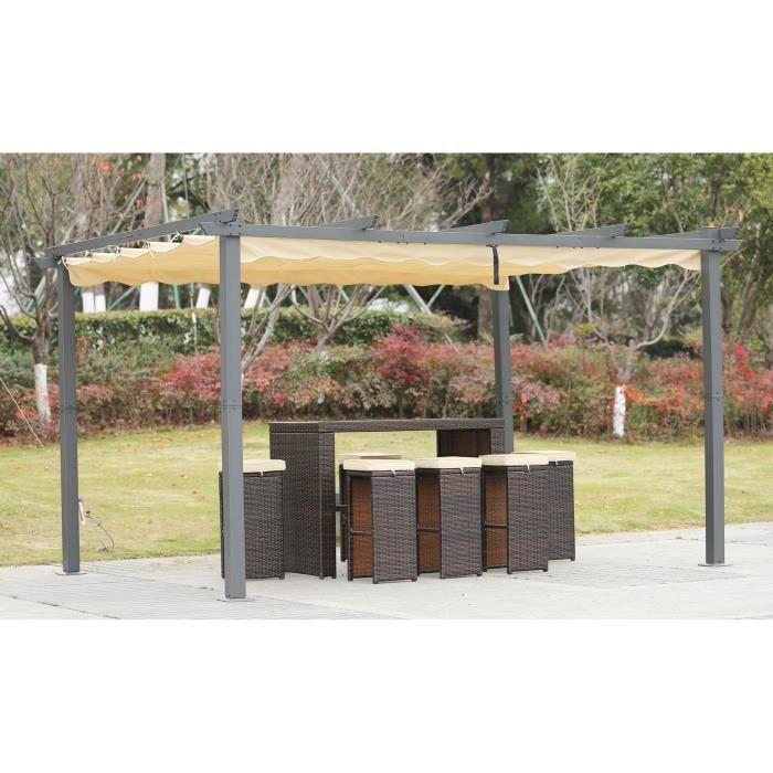 Angel Living Aluminium Pergola Tonnelle Parfait Pour Votre Terrasse,Toit Retractable,Toile Coulissante (3x4M)