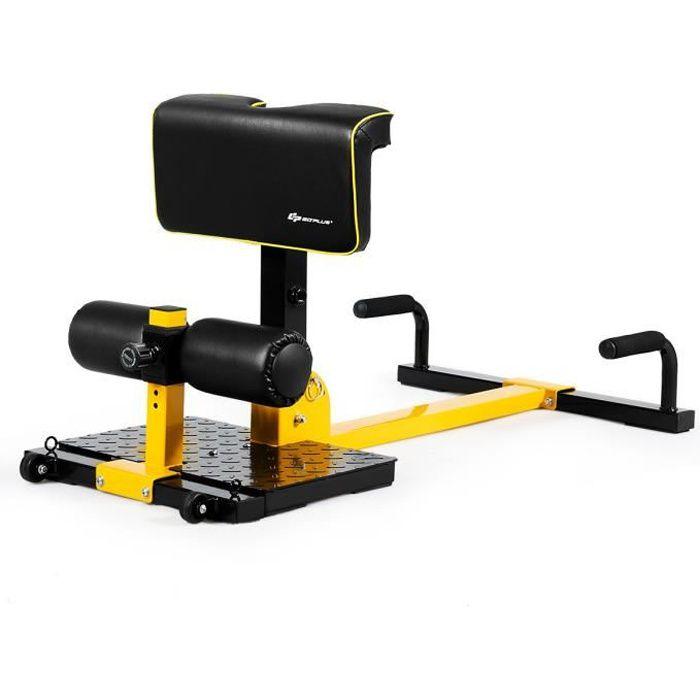 COSTWAY Machine à Squat 8 en 1 Sissy Squat Appareil de Musculation pour Abdominaux et Jambes Hauteur Réglages Capacité 120KG