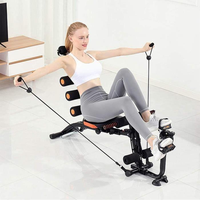Entraîneurs Abdominaux Pliable Appareil de musculation, bras dos et épaules Banc de musculation Multi-Fonction Noir et Orange
