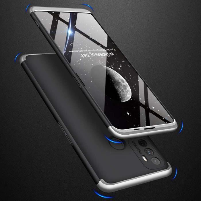 Coque OPPO A53 2020-A32 2020,Luxe 3 In 1 Protection Intégrale 360° Antichoc Coque de Téléphone Argent