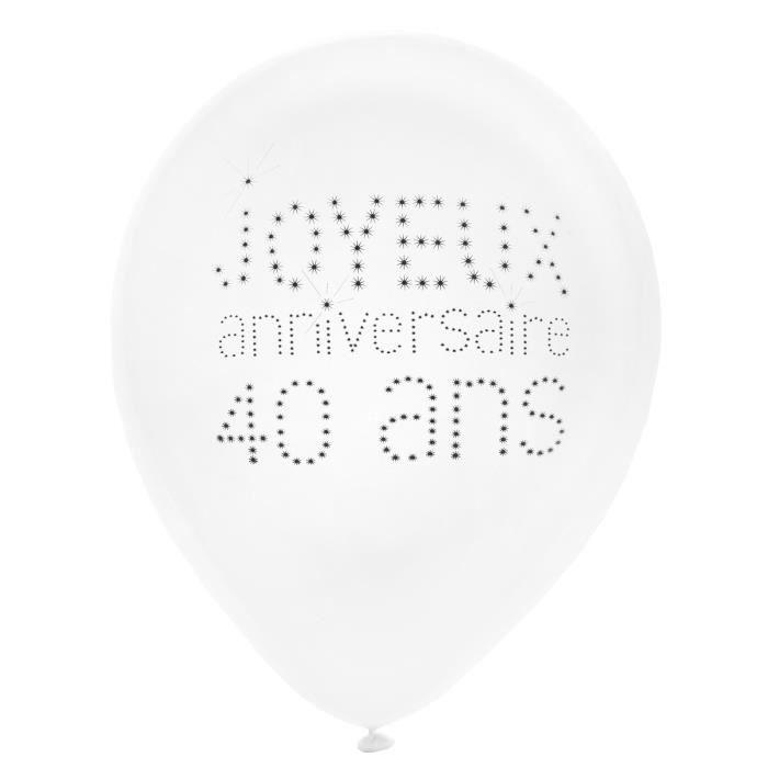 SANTEX Ballon Anniversaire 40 ans blanc