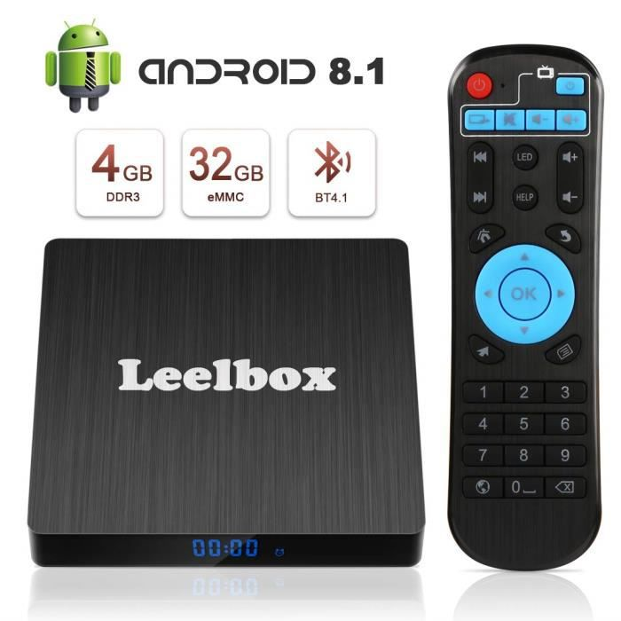 Leelbox TV Box Android 8.1【4GB+32GB】 Q4s Boîtier TV RK3328 Quad Core 64 bit Smart TV Box, Wi-FI integrato, BT 4.1, Box TV UHD 4K