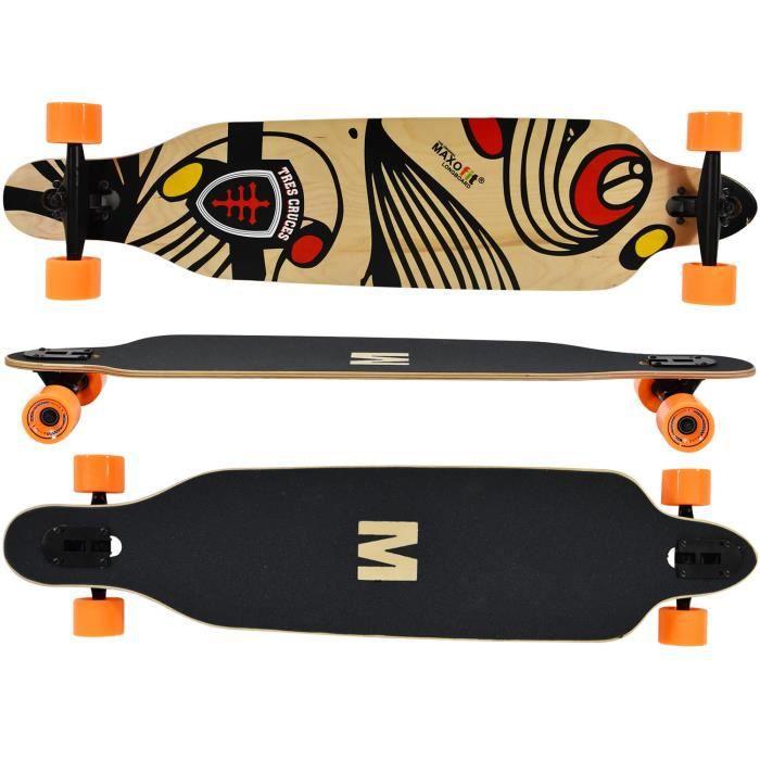 """Longboard """"Tres Cruces - ,7 couches d érable, 104cm , ABEC 11,MAXOfit®"""