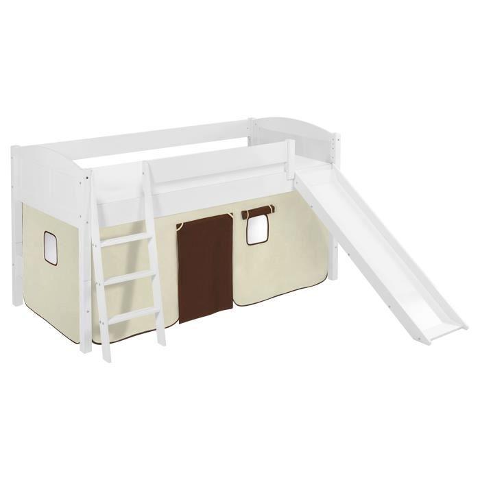 Lit surélevé ludique/évolutif IDA 4106 marron beige - avec rideaux et toboggan - LILOKIDS - blanc laqué