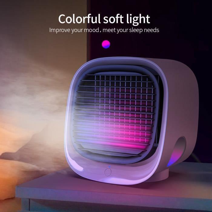Climatiseur De Ventilateur USB Avec Lumière Colorée Pour La Maison Et Le Bureau