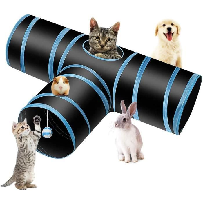 Tunnel Chat Jeu Chat, Tunnel Lapin Pet Tunnel 3 Way Crinkle Tunnel Tube Pliable Jouet pour Les Chats Lapins, Chiens, Animaux de Comp