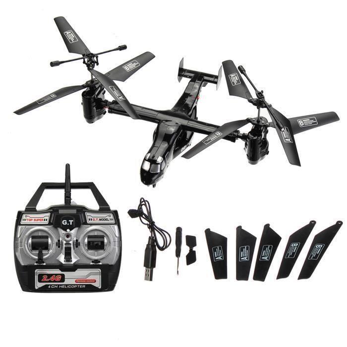 Osprey 2.4G Transport Avion Hélicoptère Drone RC Jouet Remplaçable Batterie Noir Bo07535
