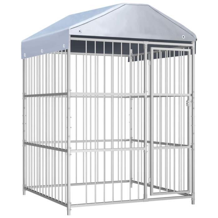 4372®ANI Chenil pour Chien Cage d'extérieur Enclos Grand avec toit pour chiens 150x150x200 cm