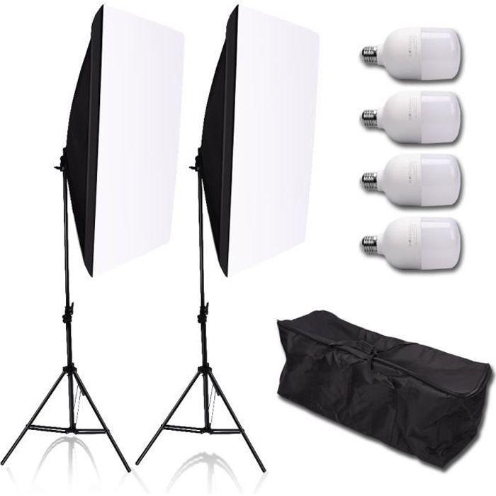 Studio de photographie 50 * 70cm Softbox Kit de support d'éclairage LED Système professionnel Kit d'équipement de studio photo
