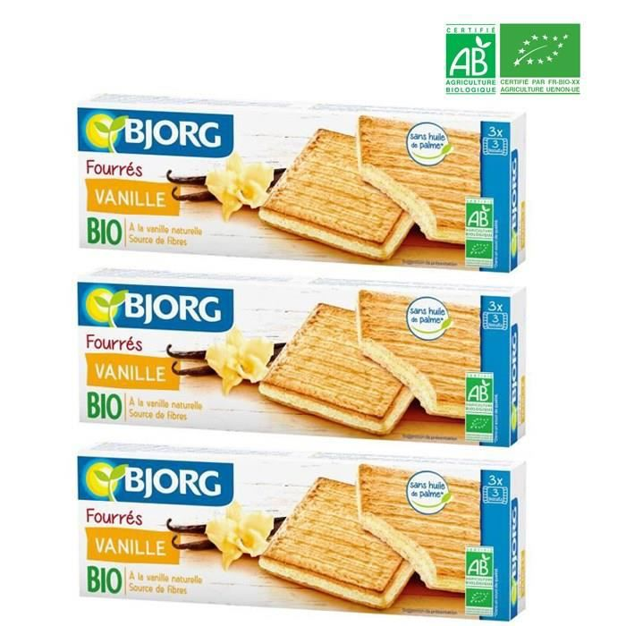 [LOT DE 3] Biscuits fourrés à la vanille 225g Bjorg