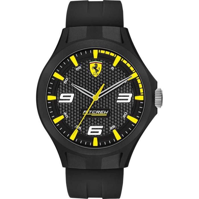 Ferrari - Montre Hommes - Quartz Analogique - Bracelet Caoutchouc Noir - 0830675