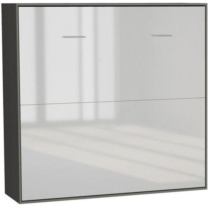 Armoire lit horizontale escamotable STRADA-V2 structure gris graphite mat façade blanc brillant couchage 160*200 cm. bi color bois
