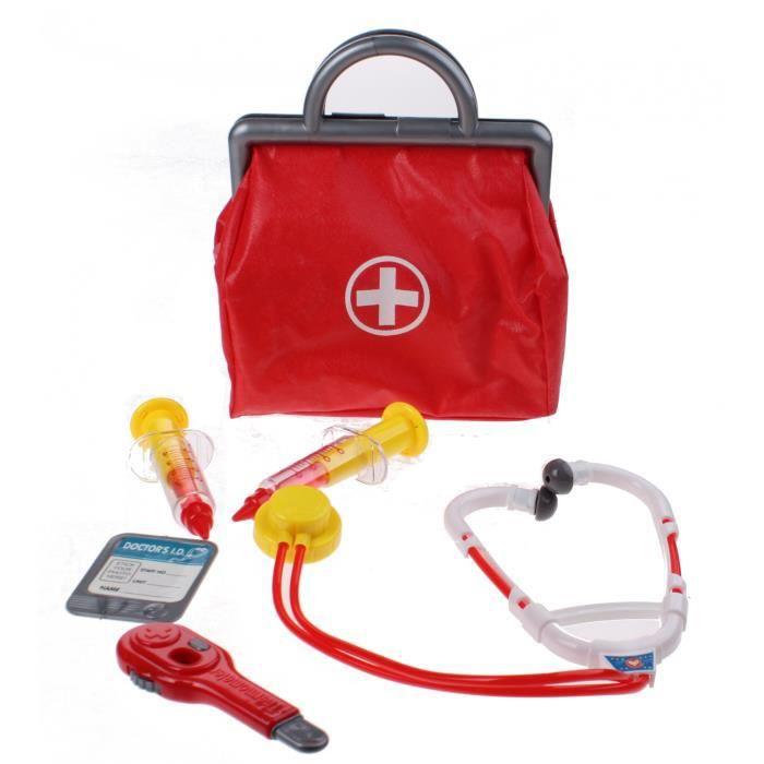 Johntoy Sac de médecin avec des accessoires 6 pièces